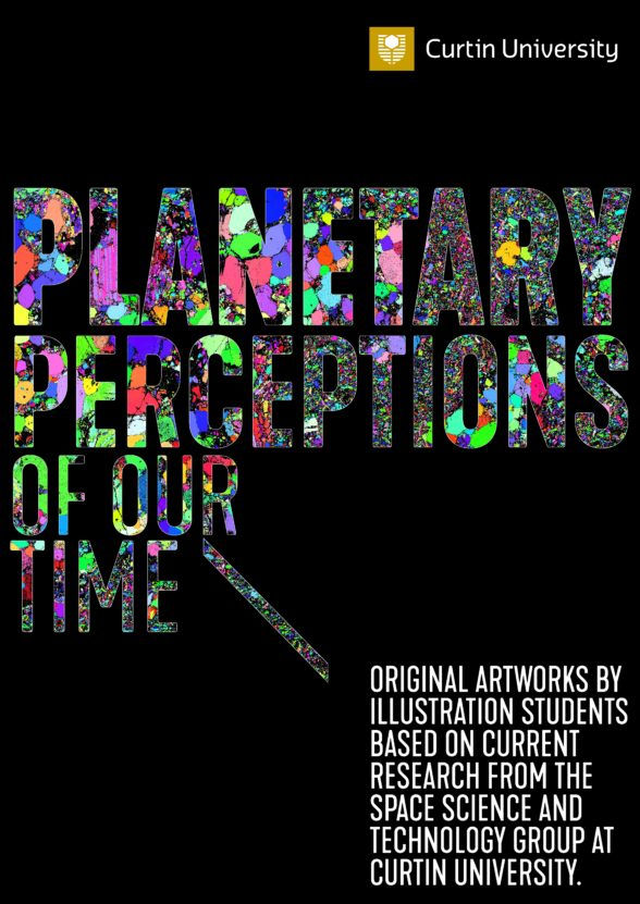 'planetary perceptions of our time' written on a black background