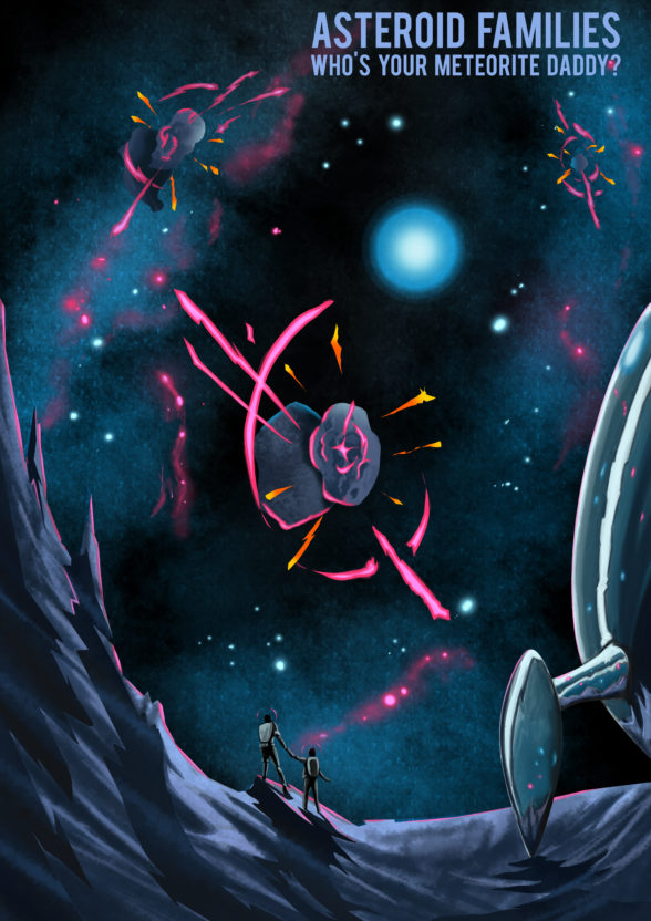 illustration of an astronaut and rocket with asteroids in the background