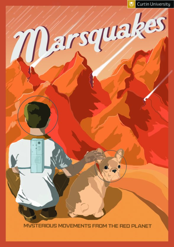 illustration of a person and a dog looking at a landscape on Mars