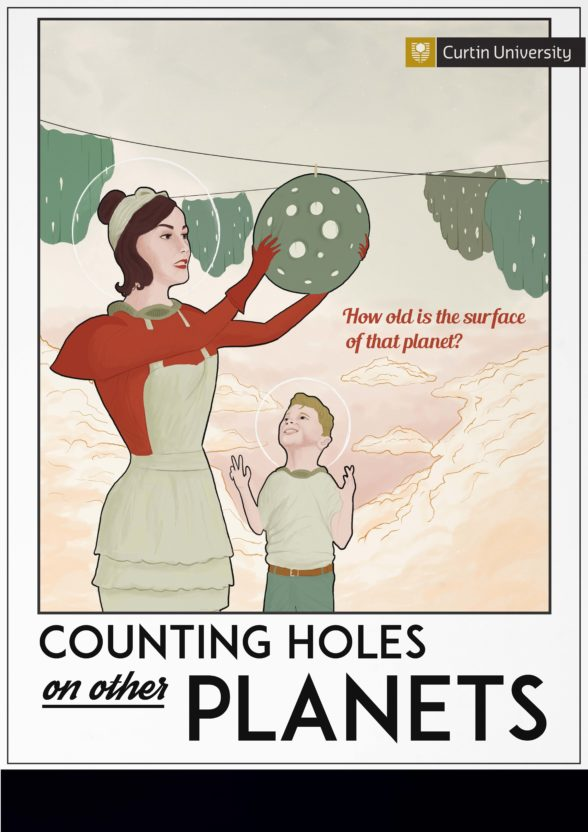 illustration of a mother and son examining planets near a washing line
