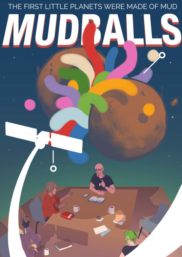 illustration of two balls of mud and a satellite above a desk of people having a meeting